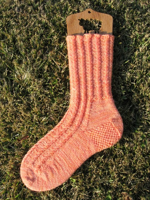Giant Peach Cabletini Socks - one sock finished